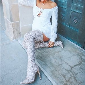 Shoes - Snake Print Over the Knee boots